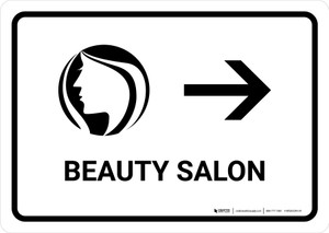 Beauty Salon With Right Arrow White Landscape - Wall Sign