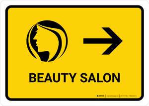Beauty Salon With Right Arrow Yellow Landscape - Wall Sign