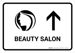 Beauty Salon With Up Arrow White Landscape - Wall Sign