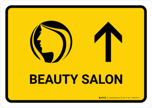 Beauty Salon With Up Arrow Yellow Landscape - Wall Sign