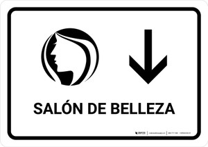 Beauty Salon With Down Arrow White Spanish Landscape - Wall Sign