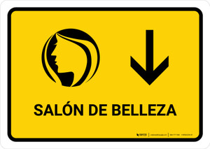 Beauty Salon With Down Arrow Yellow Spanish Landscape - Wall Sign