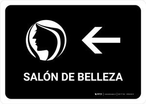Beauty Salon With Left Arrow Black Spanish Landscape - Wall Sign