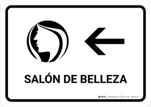 Beauty Salon With Left Arrow White Spanish Landscape - Wall Sign