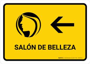 Beauty Salon With Left Arrow Yellow Spanish Landscape - Wall Sign