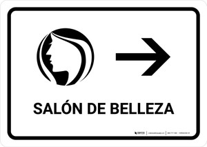 Beauty Salon With Right Arrow White Spanish Landscape - Wall Sign