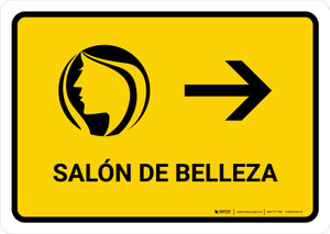 Beauty Salon With Right Arrow Yellow Spanish Landscape - Wall Sign