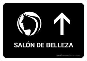 Beauty Salon With Up Arrow Black Spanish Landscape - Wall Sign