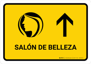 Beauty Salon With Up Arrow Yellow Spanish Landscape - Wall Sign