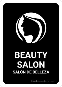 Beauty Salon Black Bilingual Portrait - Wall Sign