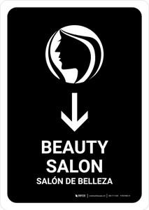 Beauty Salon With Down Arrow Black Bilingual Portrait - Wall Sign