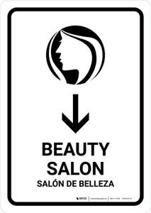 Beauty Salon With Down Arrow White Bilingual Portrait - Wall Sign