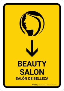 Beauty Salon With Down Arrow Yellow Bilingual Portrait - Wall Sign