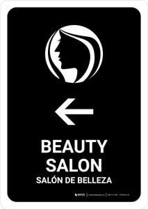 Beauty Salon With Left Arrow Black Bilingual Portrait - Wall Sign