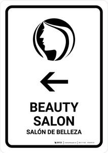 Beauty Salon With Left Arrow White Bilingual Portrait - Wall Sign