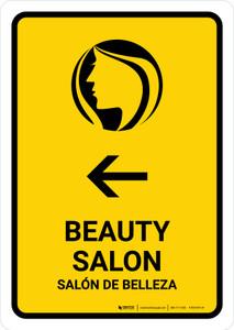 Beauty Salon With Left Arrow Yellow Bilingual Portrait - Wall Sign