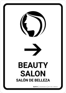 Beauty Salon With Right Arrow White Bilingual Portrait - Wall Sign