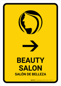 Beauty Salon With Right Arrow Yellow Bilingual Portrait - Wall Sign