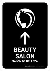 Beauty Salon With Up Arrow Black Bilingual Portrait - Wall Sign