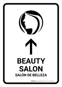 Beauty Salon With Up Arrow White Bilingual Portrait - Wall Sign