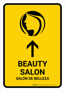 Beauty Salon With Up Arrow Yellow Bilingual Portrait - Wall Sign