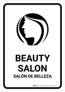 Beauty Salon White Bilingual Portrait - Wall Sign