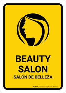Beauty Salon Yellow Bilingual Portrait - Wall Sign