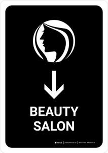Beauty Salon With Down Arrow Black Portrait - Wall Sign