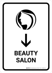 Beauty Salon With Down Arrow White Portrait - Wall Sign