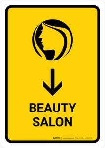 Beauty Salon With Down Arrow Yellow Portrait - Wall Sign