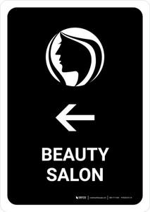Beauty Salon With Left Arrow Black Portrait - Wall Sign