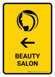 Beauty Salon With Left Arrow Yellow Portrait - Wall Sign