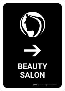 Beauty Salon With Right Arrow Black Portrait - Wall Sign