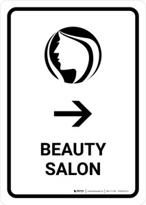 Beauty Salon With Right Arrow White Portrait - Wall Sign
