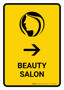 Beauty Salon With Right Arrow Yellow Portrait - Wall Sign