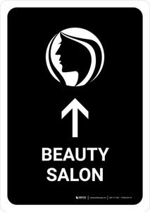 Beauty Salon With Up Arrow Black Portrait - Wall Sign