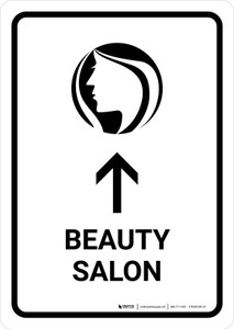 Beauty Salon With Up Arrow White Portrait - Wall Sign