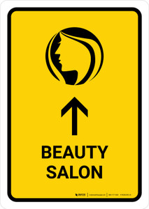 Beauty Salon With Up Arrow Yellow Portrait - Wall Sign