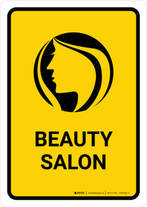 Beauty Salon Yellow Portrait - Wall Sign