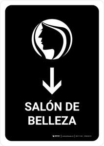 Beauty Salon With Down Arrow Black Spanish Portrait - Wall Sign