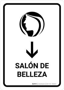 Beauty Salon With Down Arrow White Spanish Portrait - Wall Sign
