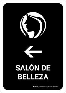 Beauty Salon With Left Arrow Black Spanish Portrait - Wall Sign