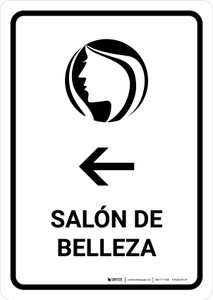 Beauty Salon With Left Arrow White Spanish Portrait - Wall Sign