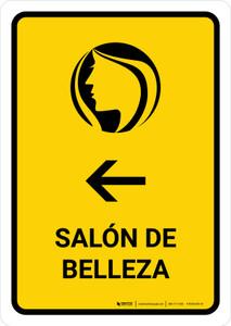 Beauty Salon With Left Arrow Yellow Spanish Portrait - Wall Sign