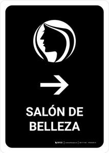 Beauty Salon With Right Arrow Black Spanish Portrait - Wall Sign