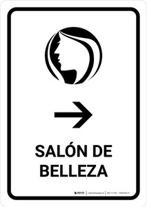 Beauty Salon With Right Arrow White Spanish Portrait - Wall Sign