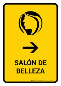 Beauty Salon With Right Arrow Yellow Spanish Portrait - Wall Sign