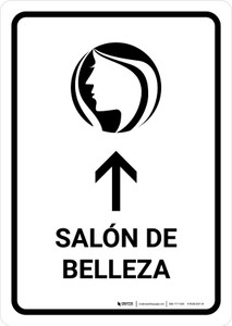 Beauty Salon With Up Arrow White Spanish Portrait - Wall Sign