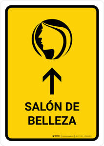 Beauty Salon With Up Arrow Yellow Spanish Portrait - Wall Sign