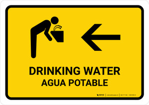 Drinking Water With Left Arrow Yellow Bilingual Landscape - Wall Sign